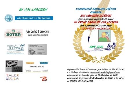 Convocatòria del XIII Concurs Literari i III Premi Badiu de les Lletres