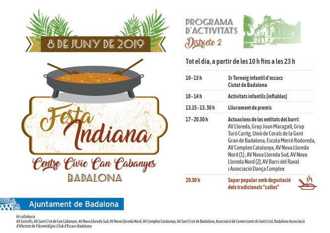 El Centre Cívic Can Cabanyes de Badalona acull aquest dissabte la Festa Indiana