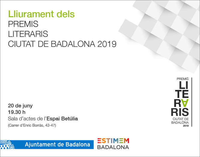 L'Espai Betúlia acull dijous el lliurament dels premis literaris Ciutat de Badalona 2019