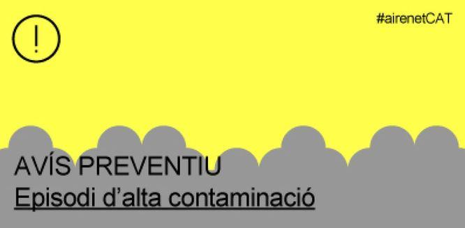 La Generalitat manté activat l'avís preventiu per contaminació atmosfèrica a tot Catalunya