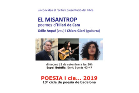 """Poesia i cia…2019: Recital i presentació del llibre """"El misantrop"""" d'Hilari de Cara"""