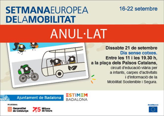 Anul·lades per la previsió de pluja les activitats programades aquest dissabte a Badalona en el marc de la Setmana Europea de la Mobilitat
