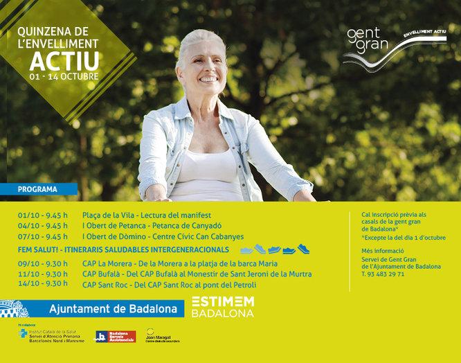Badalona organitza de l'1 al 15 d'octubre la Quinzena de l'Envelliment Actiu