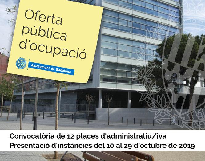 Convocatòria de 12 places de personal administratiu per a l'Ajuntament de Badalona