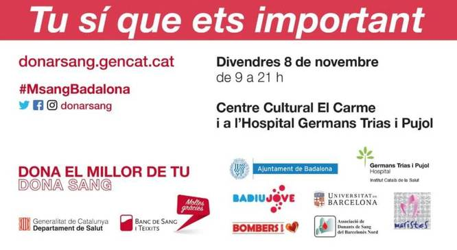 Divendres 8 de novembre se celebrarà la Marató de Donants de Sang de Badalona