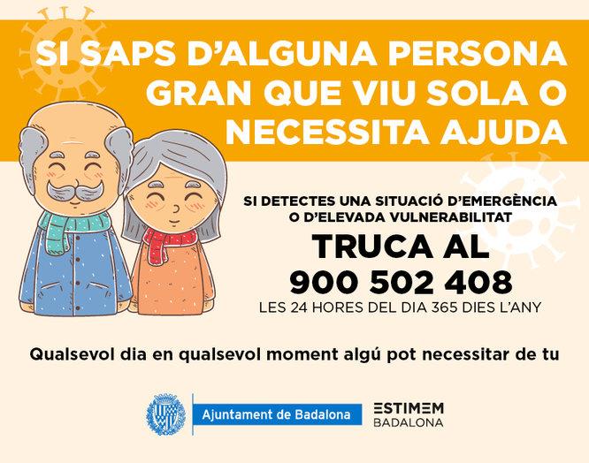 Badalona activa el número de telèfon gratuït 900 502 408 per atendre les persones grans que viuen soles o no reben atenció dels seus cuidadors habituals