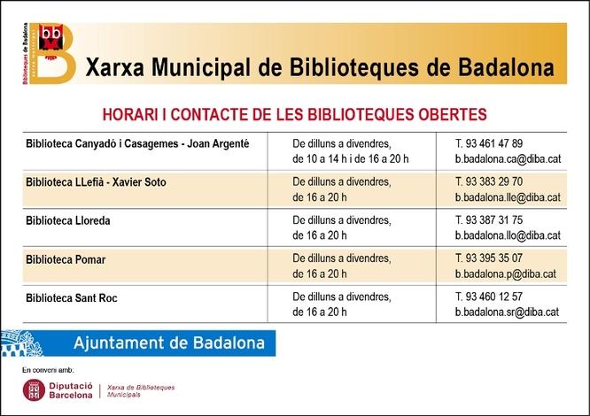 Avui obren totes les biblioteques de la Xarxa Municipal de Badalona