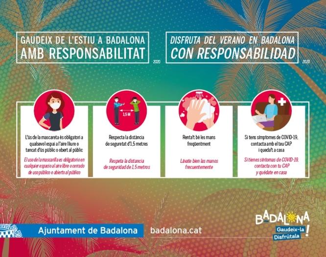 Gaudeix de l'estiu a Badalona AMB RESPONSABILITAT, nova campanya de l'Ajuntament per evitar la propagació del coronavirus