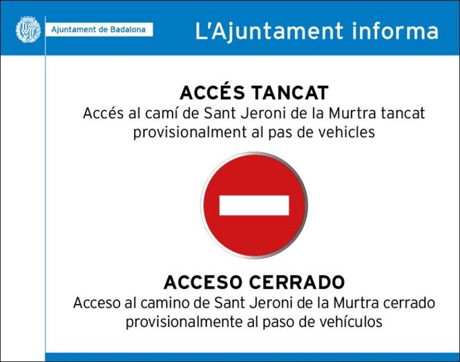 Badalona i Santa Coloma de Gramenet tanquen l'accés amb vehicles a la Serralada de Marina