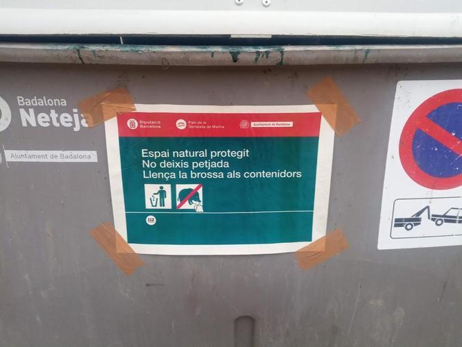 L'Ajuntament de Badalona instal·la cinc contenidors en els accessos de la Serralada de Marina per evitar que les persones deixin escombraries al parc