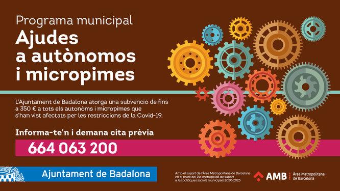 L'Ajuntament de Badalona amplia fins al 28 de febrer el termini per demanar els ajuts econòmics per a autònoms i micropimes afectades per la COVID-19