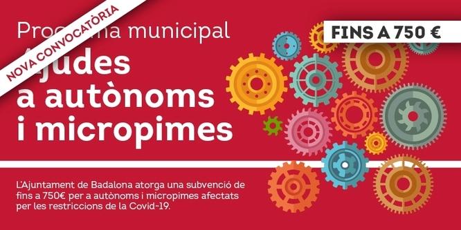 Des d'avui ja es poden sol·licitar els ajuts econòmics, fins als 750 euros, per a autònoms i micropimes de Badalona afectades per les suspensions obligatòries de les activitats per la Covid19