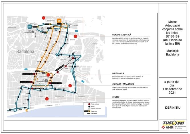 Les línies B7, B8 i B9 de Tusgsal es modifiquen per millorar el servei d'autobús a diversos barris de la ciutat