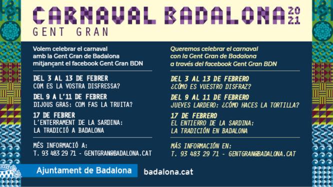 L'Ajuntament de Badalona convida a la gent gran de la ciutat a celebrar el carnestoltes a través de les xarxes socials