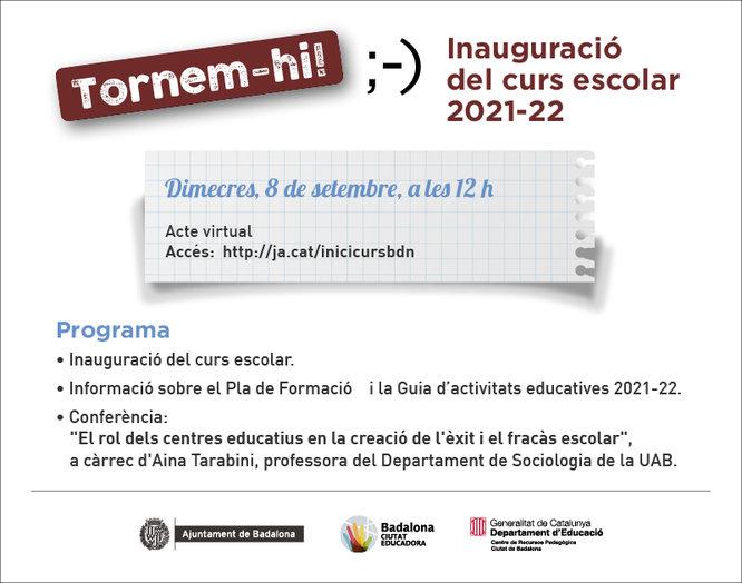 Dimecres, 8 de setembre, es farà l'acte d'inauguració del nou curs escolar a Badalona