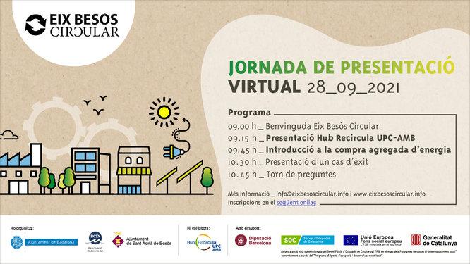 El projecte Eix Besòs Circular organitza una sessió informativa per a la creació d'un grup de compra agregada d'energia entre empreses de Badalona i Sant Adrià de Besòs