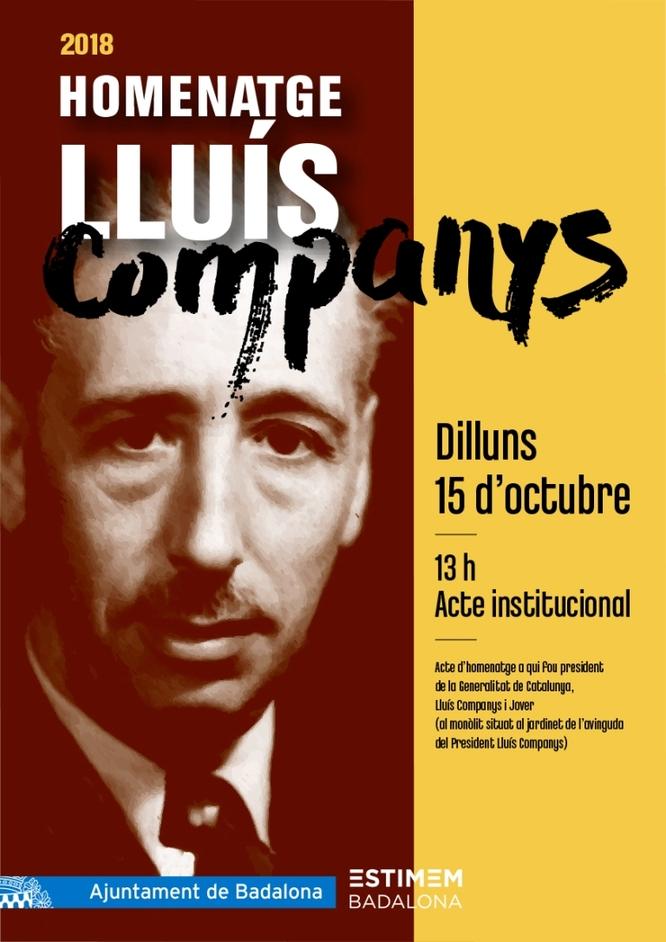 L'Ajuntament de Badalona farà dilluns, 15 d'octubre, un acte institucional en homenatge al president Lluís Companys