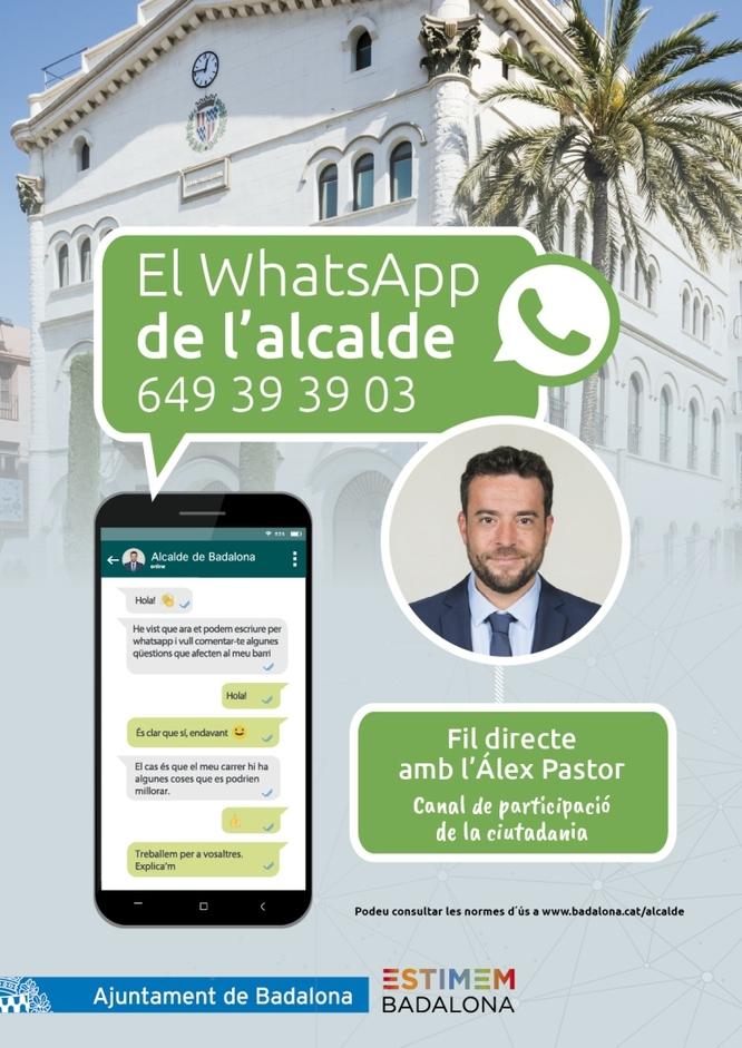 L'alcalde de Badalona, Álex Pastor, posa en marxa un nou canal de participació per WhatsApp