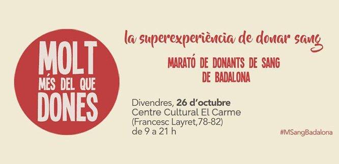 Demà divendres, 26 d'octubre, Badalona celebra la Marató de Donants de Sang