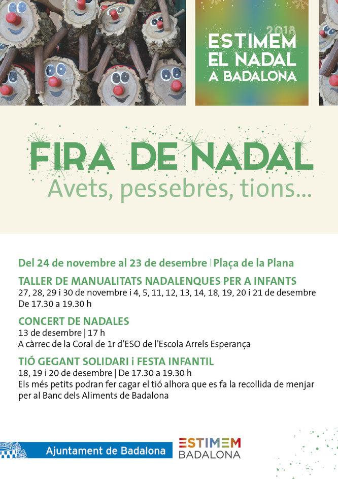 La Fira de Nadal s'instal·la a la plaça de la Plana de Badalona a partir demà dissabte 24 de novembre i fins al 23 de desembre