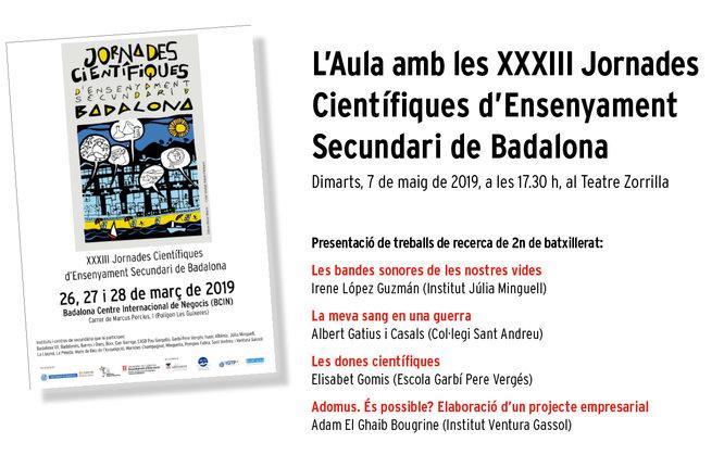 L'Aula d'extensió universitària per a la gent gran acull la presentació de diversos treballs de recerca de les XXXIII Jornades Científiques d'Ensenyament Secundari de Badalona