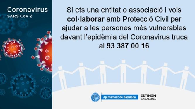 Protecció Civil de Badalona posa en marxa un punt d'atenció telefònica per coordinar les xarxes solidàries arran la crisi del coronavirus