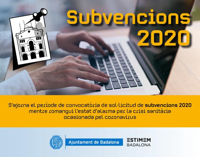L'Ajuntament de Badalona no obrirà la convocatòria de sol·licitud de subvencions a entitats de l'exercici 2020 mentre romangui l'estat d'alarma