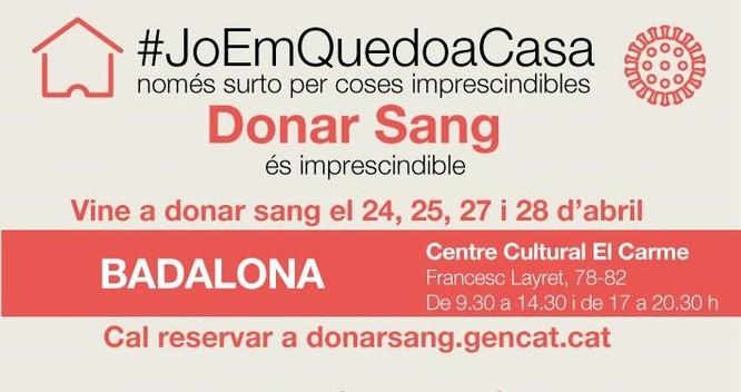 El Centre Cultural El Carme acull a partir de demà una campanya de donació de sang